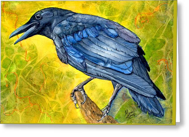 Crow Cards Greeting Cards - Crow Call Greeting Card by Marie Stone Van Vuuren