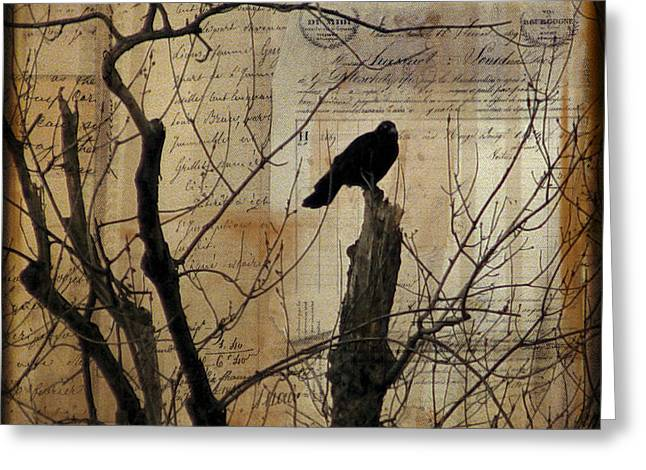 Nature Collage Greeting Cards - Crow Collage Greeting Card by Gothicolors Donna Snyder