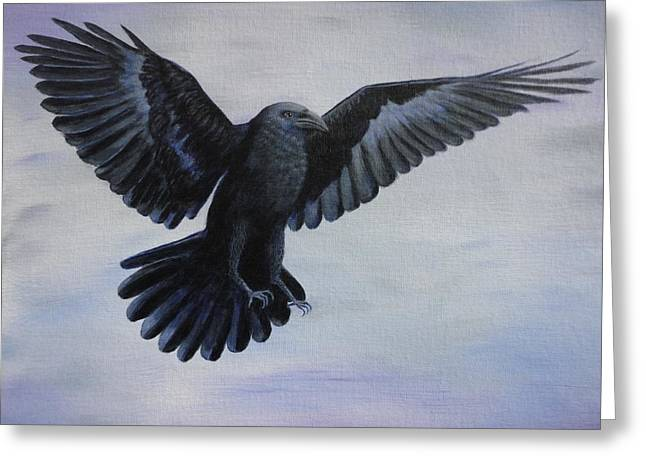 Crow Flight Greeting Card by Xochi Hughes Madera