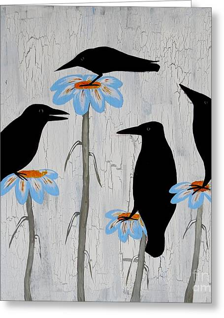 Acrylic On Wood Greeting Cards - Crow Flowers Greeting Card by Jean Fry