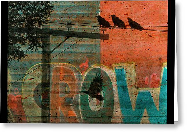 Canvas Crows Greeting Cards - Crow Graffiti  Greeting Card by Gothicolors Donna Snyder