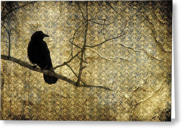 Crow Collage Greeting Cards - Crow In Damask Greeting Card by Gothicolors Donna Snyder