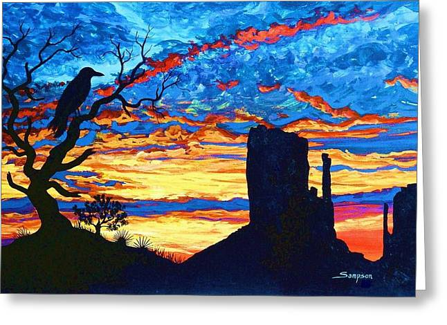 Crow In Sunset Greeting Card by Cynthia Sampson