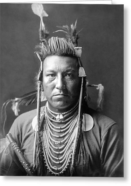 Indigenous Greeting Cards - Crow Indian circa 1908 Greeting Card by Aged Pixel