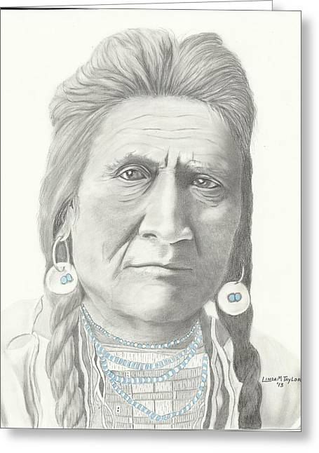Graphite Pastels Greeting Cards - Crow Indian Chief Greeting Card by Linda Taylor