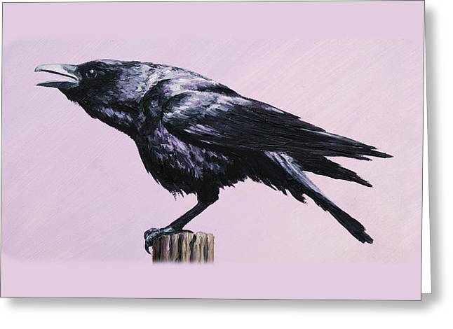 Black Bird Greeting Cards - Crow iPhone Case Greeting Card by Crista Forest
