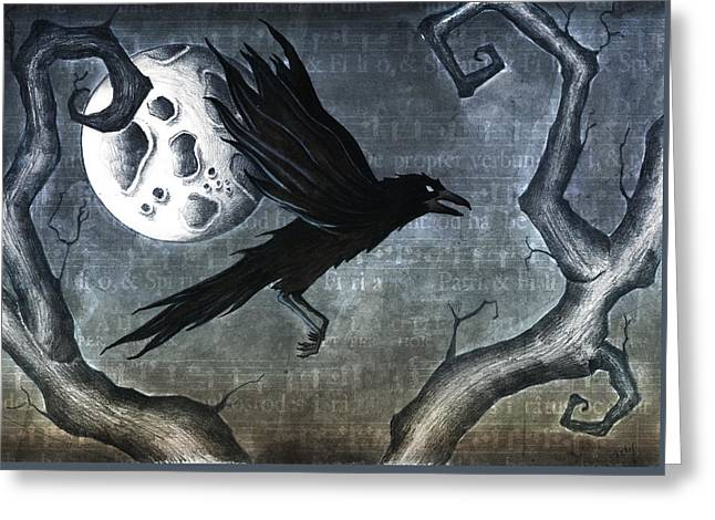 Crow. Bird Music Greeting Cards - Crow Greeting Card by Jody Scheers