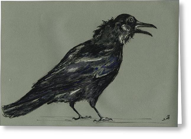 Crow Greeting Card by Juan  Bosco