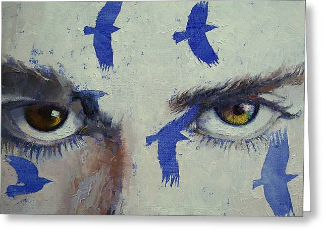 Surrealistic Paintings Greeting Cards - Crow Greeting Card by Michael Creese