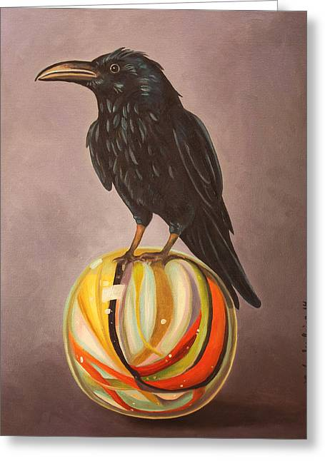 Omens Greeting Cards - Crow On Marble Greeting Card by Leah Saulnier The Painting Maniac