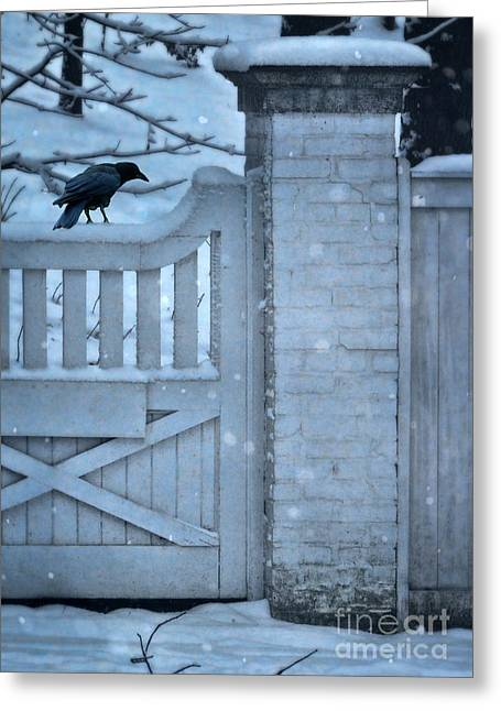 Wooden Stairs Greeting Cards - Crow on Snowy Gate Greeting Card by Jill Battaglia