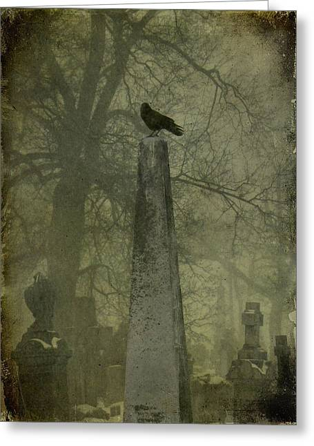 Crow On Spire Greeting Card by Gothicolors Donna Snyder