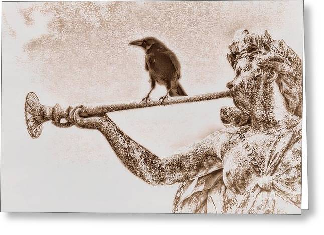 Crow. Bird Music Greeting Cards - Crow on Trumpet Greeting Card by Henry Kowalski