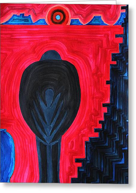 Metaphysics Paintings Greeting Cards - Crow original painting Greeting Card by Sol Luckman