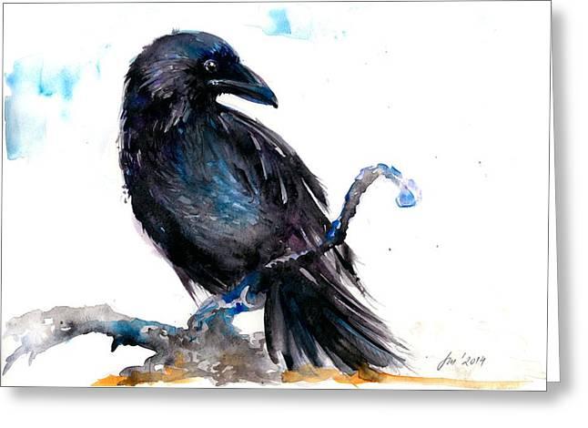 Raben Vogel Greeting Cards - Crow Resting - Bird Art Watercolor Greeting Card by Tiberiu Soos