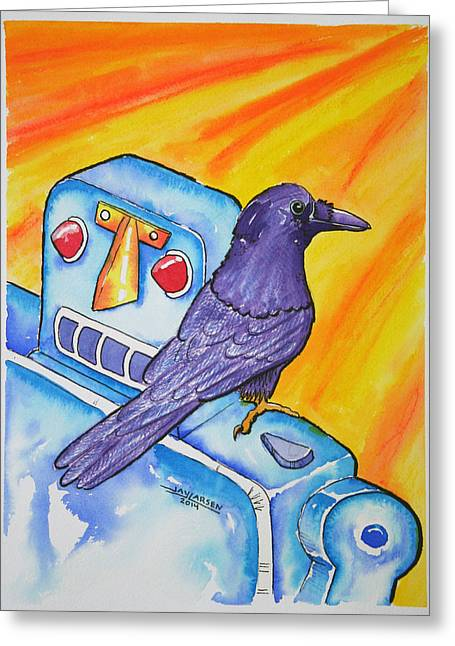 Science Greeting Cards - Crow Robot 1 Greeting Card by Jay Larsen