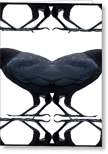 Lady Tapestries - Textiles Greeting Cards - CROW Rorschach Greeting Card by Alexandra  Sanders