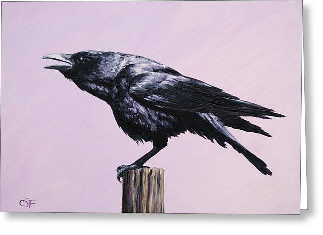 Crows Paintings Greeting Cards - Crow - Sounding Off Greeting Card by Crista Forest