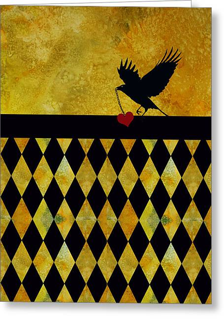 Crow Mixed Media Greeting Cards - Crow Stole My Heart on Golden Diamonds Greeting Card by Jenny Armitage