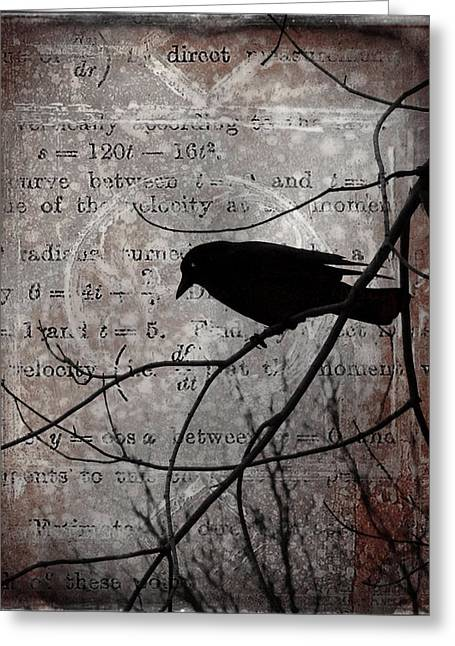 Crows In Trees Greeting Cards - Crow Thoughts Collage Greeting Card by Gothicolors Donna Snyder