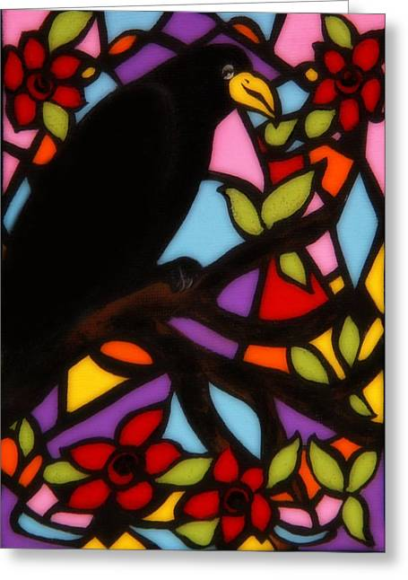 Crows In Trees Greeting Cards - Crow Window Greeting Card by Gothicolors Donna Snyder