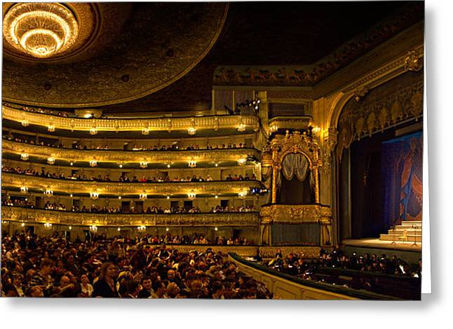 Night Photography Greeting Cards - Crowd At Mariinsky Theatre, St Greeting Card by Panoramic Images