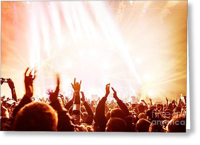 Applaud Photographs Greeting Cards - Crowd enjoying concert  Greeting Card by Anna Omelchenko