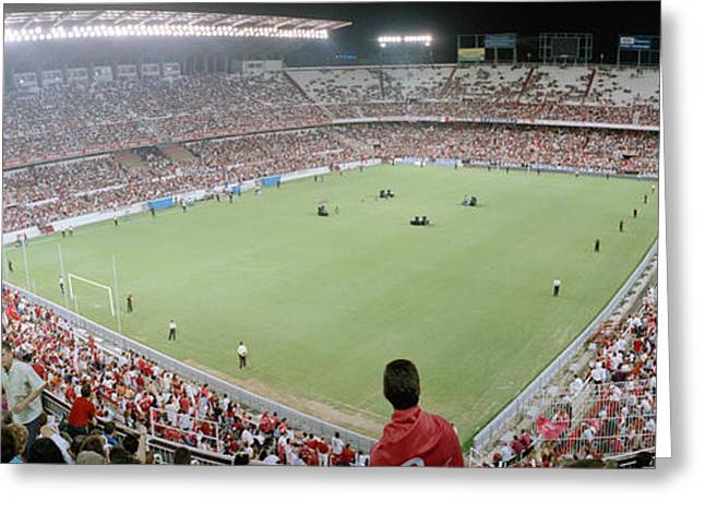 Football Field Greeting Cards - Crowd In A Stadium, Sevilla Fc, Estadio Greeting Card by Panoramic Images