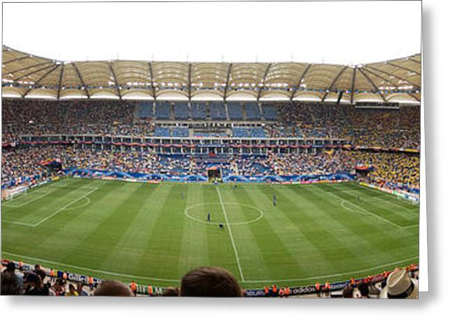 Professional Sports Greeting Cards - Crowd In A Stadium To Watch A Soccer Greeting Card by Panoramic Images