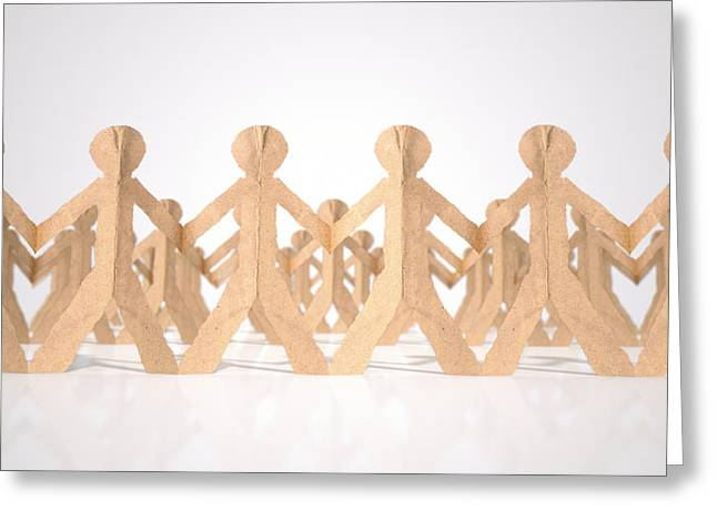 Cardboard Digital Greeting Cards - Crowd Of Cutout Paper Cardboard Men Greeting Card by Allan Swart