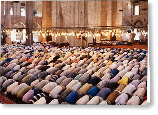 Bowing Greeting Cards - Crowd Praying In A Mosque, Suleymanie Greeting Card by Panoramic Images