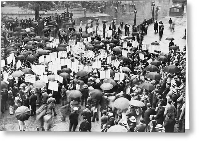 Financial Failure Greeting Cards - Crowd Protests Bank Failure Greeting Card by World Telegram