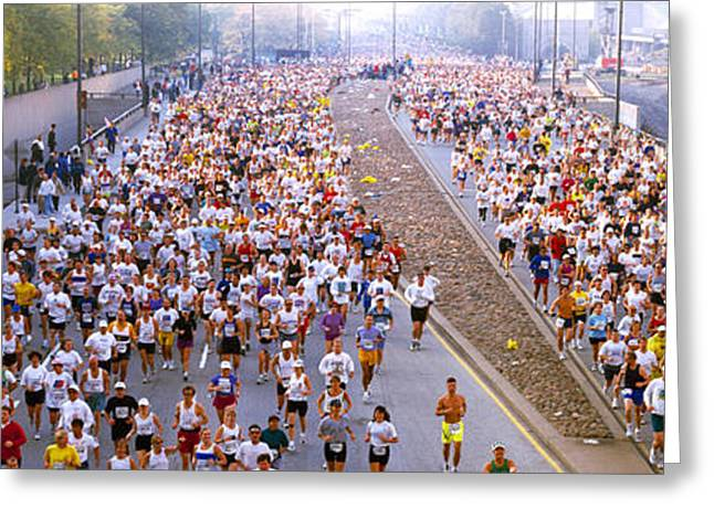 Endurance Greeting Cards - Crowd Running In A Marathon, Chicago Greeting Card by Panoramic Images