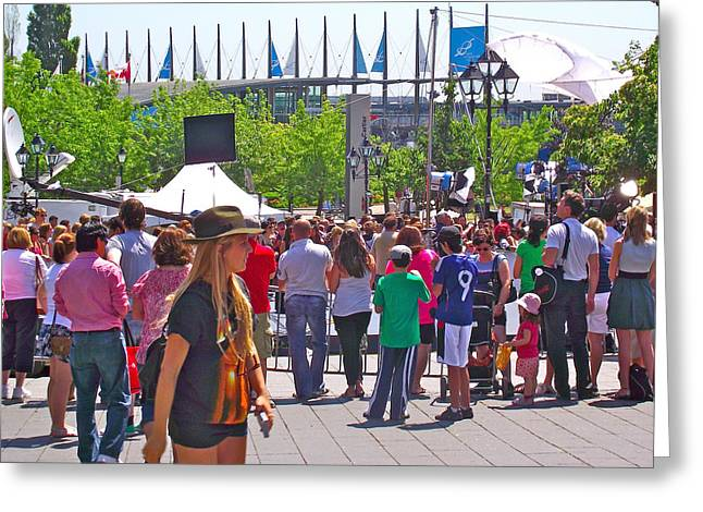 Qc Greeting Cards - Crowd Watching Filming of TODAY Show in Old Montreal-QC Greeting Card by Ruth Hager