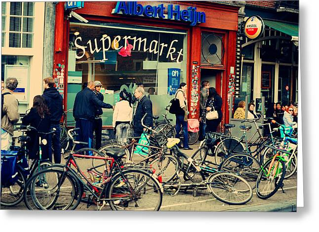 European Bicycle Shop Greeting Cards - Crowd With People and Bikes. Amsterdam Sketches Greeting Card by Jenny Rainbow