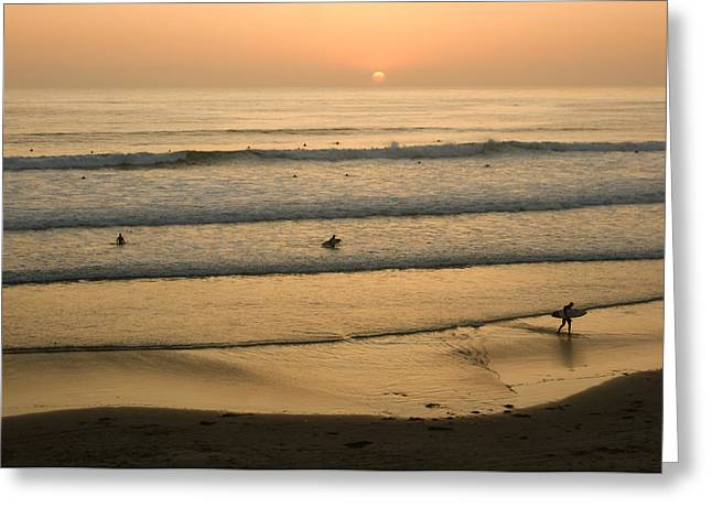 Californian Greeting Cards - Crowded Californian Surfing Sunset - Pacific Beach San Diego California Greeting Card by Georgia Mizuleva
