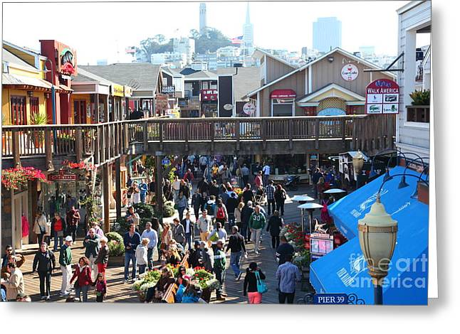 Sight Seeing San Francisco Greeting Cards - Crowds At Pier 39 San Francisco California 5D26093 Greeting Card by Wingsdomain Art and Photography