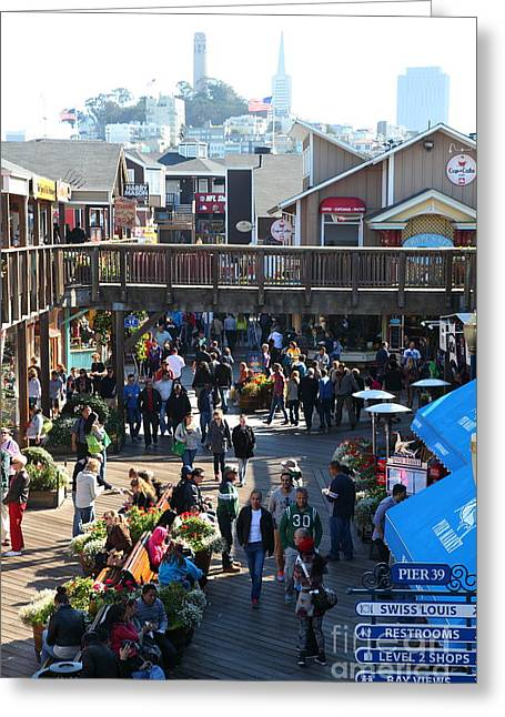 Sight Seeing San Francisco Greeting Cards - Crowds At Pier 39 San Francisco California 5D26096 Greeting Card by Wingsdomain Art and Photography