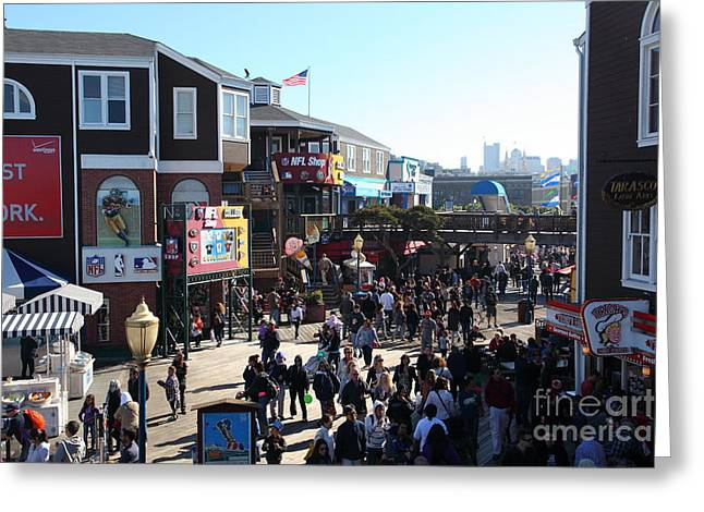 Sight Seeing San Francisco Greeting Cards - Crowds At Pier 39 San Francisco California 5D26127 Greeting Card by Wingsdomain Art and Photography