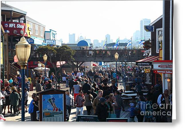Sight Seeing San Francisco Greeting Cards - Crowds At Pier 39 San Francisco California 5D26134 Greeting Card by Wingsdomain Art and Photography