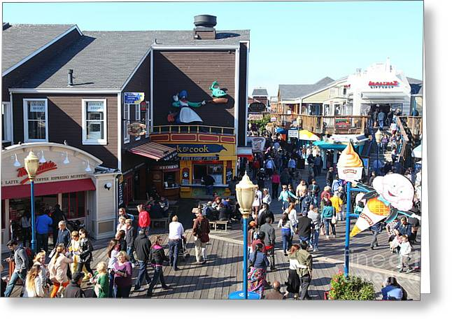 Sight Seeing San Francisco Greeting Cards - Crowds At Pier 39 San Francisco California 5D26135 Greeting Card by Wingsdomain Art and Photography