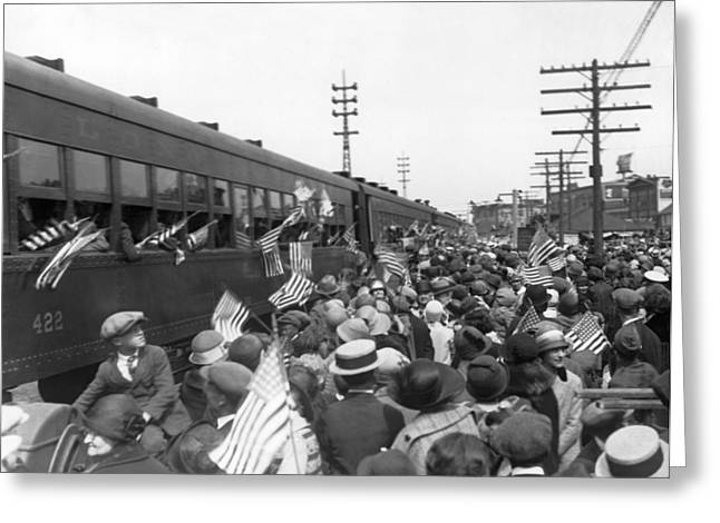 Crowds Cheer Ny Train Service Greeting Card by Underwood Archives