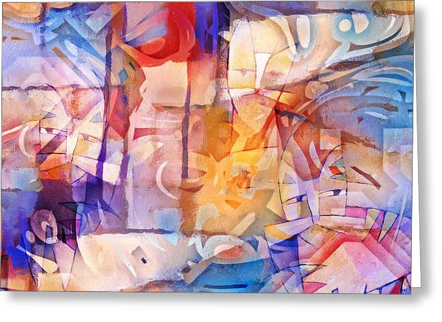 Compositions Mixed Media Greeting Cards - Crowdy Greeting Card by Lutz Baar