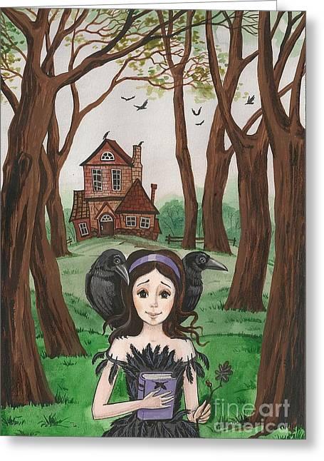 Haunted Schools Paintings Greeting Cards - Crowgirl Greeting Card by Margaryta Yermolayeva