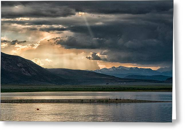 Storm Landscape Greeting Cards - Crowley Lake Greeting Card by Cat Connor