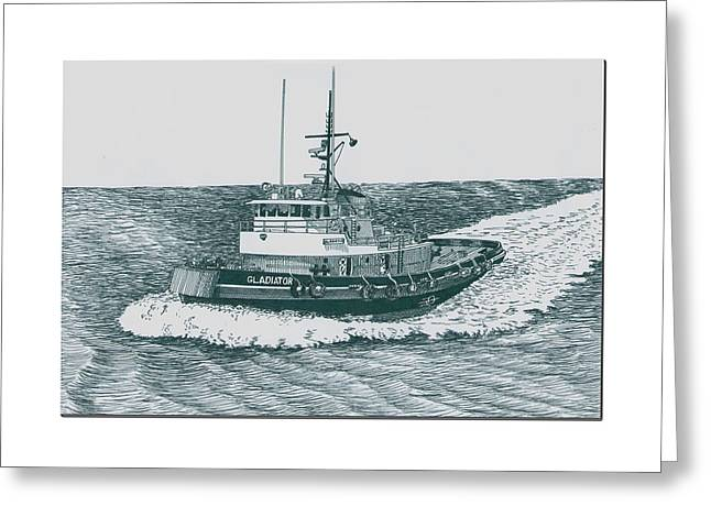 Stainless Steel Greeting Cards - Crowley Tugboat ocean going GLADIATOR Greeting Card by Jack Pumphrey