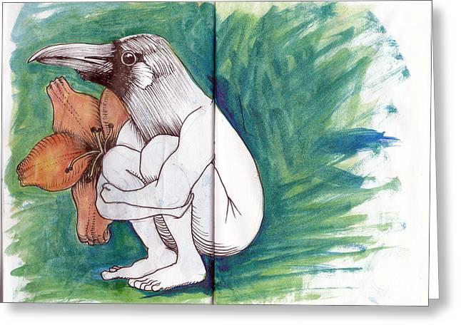 Sketchbook Greeting Cards - Crowman Greeting Card by Chad Brown