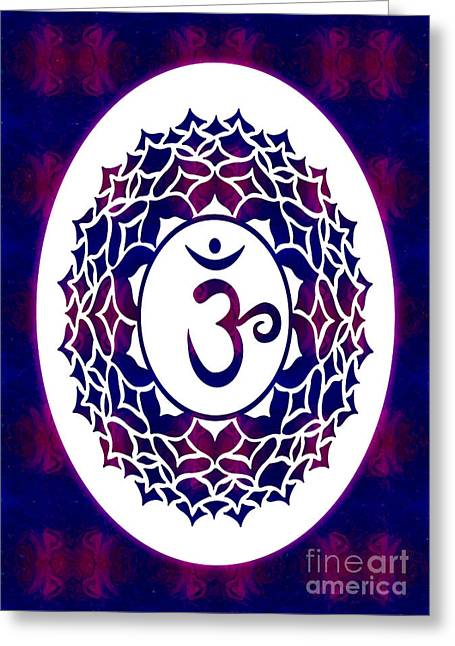 Crown Chakra Abstract Spiritual Artwork By Omaste Witkowski Greeting Card by Omaste Witkowski