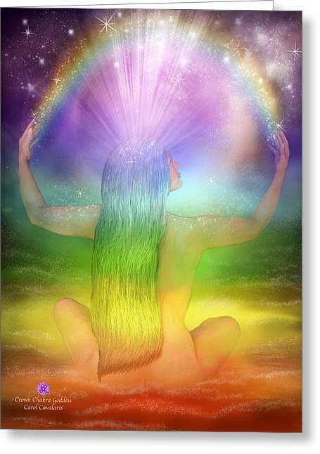 Crown Chakra Greeting Cards - Crown Chakra Goddess Greeting Card by Carol Cavalaris