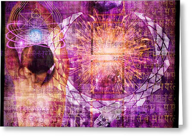 Indigo Chakra Greeting Cards - Crown Chakra. Greeting Card by Mark Preston